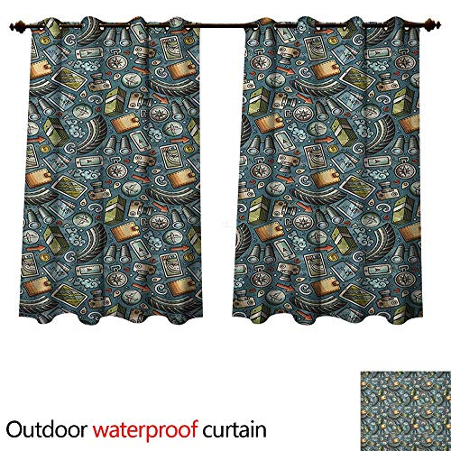 Explore Outdoor Curtain for Patio Cartoon Traveling Pattern with Coins Credit Cards Compass and Roads Doodle Design W72 x L72(183cm x 183cm)