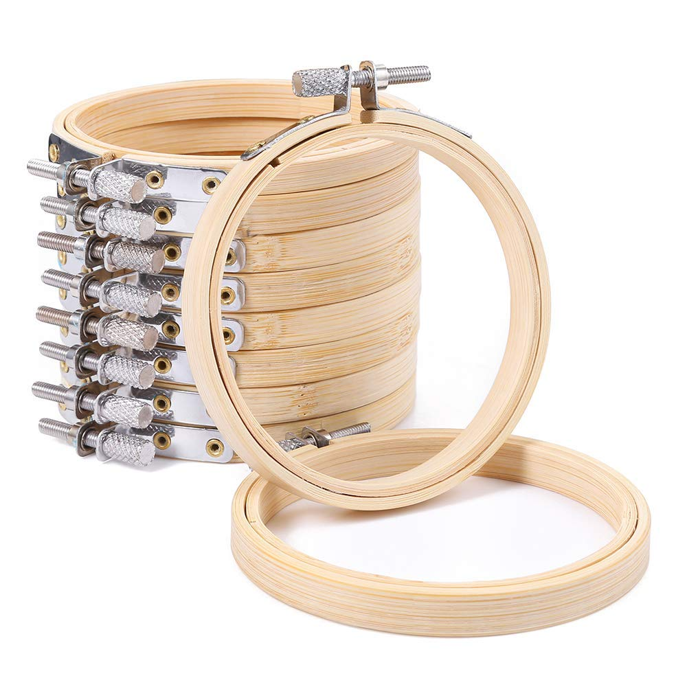 Firlar 10 PCS Small Embroidery Hoops,10CM Bamboo Round Embroidery Frames Cross Stitch Ring for DIY Art Craft Handy Sewing