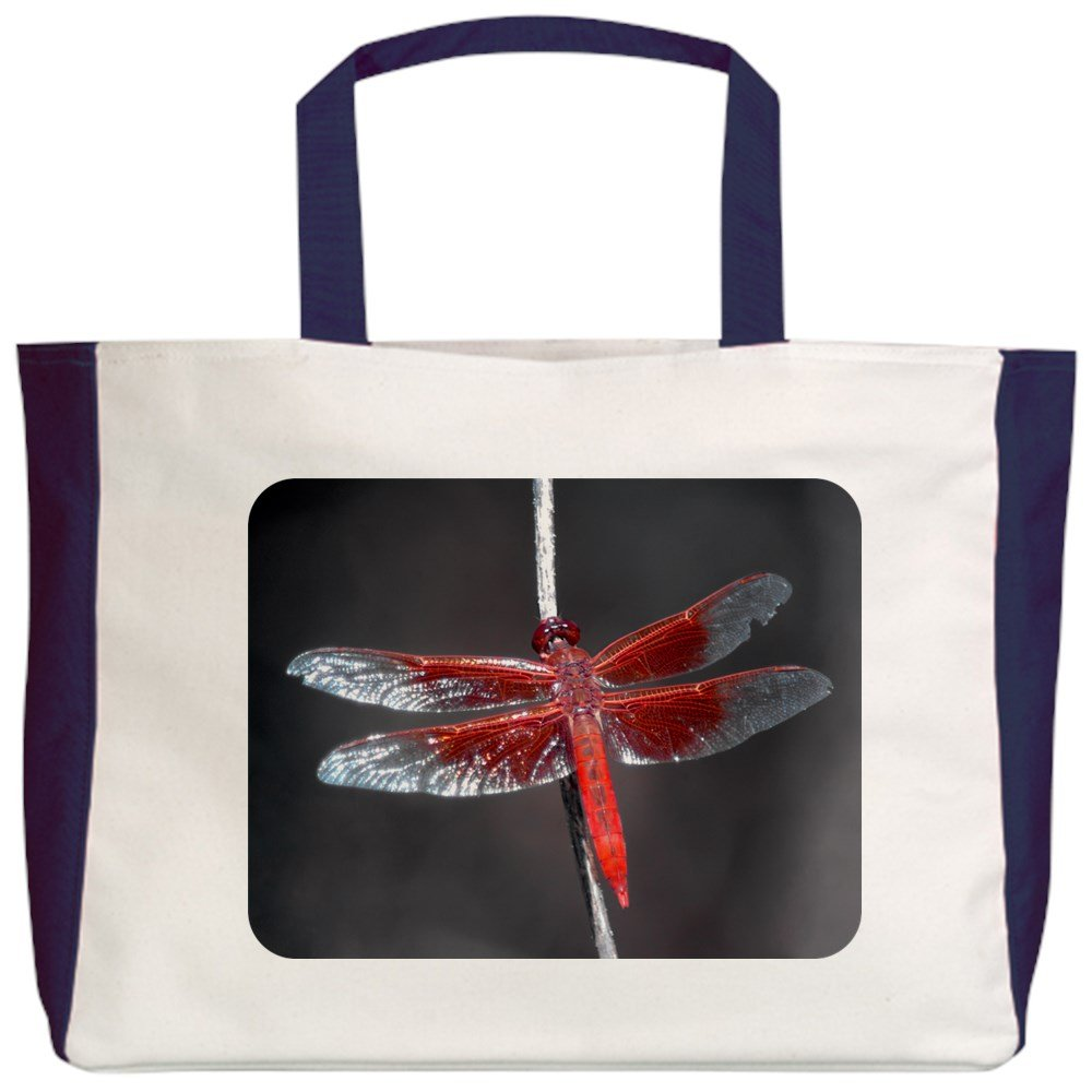 Royal Lion Beach Tote Red Flame Dragonfly 2-Sided