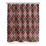 Earthy Geometric Diamonds Design, Western Top Shower Curtain, Printed Geo Diamonds Cubes Themed, Premium Modern Home Kids Bathroom Decoration, Bold Trendy Country Style, Burgundy, Green, Size 70 x 72