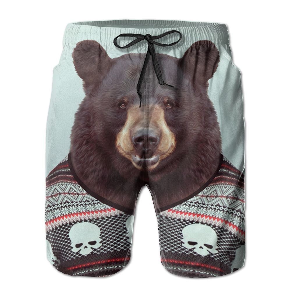 ZAPAGE Mens Quick Dry Boardshorts Funny Black Bear Skateboard Short With Pockets
