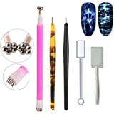 WOKOTO 5Pcs Nail Magnet Tool Set With Double Head Flower Design Nail Magnet Pens And Strong Magnet Stick For Cat Eye Gel Polish Nail Art