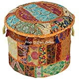 Stylo Culture Round Cotton Vintage Patchwork Embroidered Ottoman Stool Pouf Cover Yellow Floral Ottoman Stool Indian Decor Living Room Pouf Case