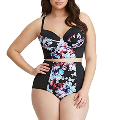 98709d721abbd Womens Plus Size Padded Push Up Flower Print Swimsuit High Waist Two Piece  Bathing Suits (