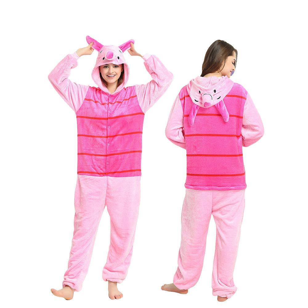 TALLA L(170CM-180CM). Pijama de una sola pieza y con capucha, diseño de Winnie the Pooh, Piglet, L(170CM-180CM)