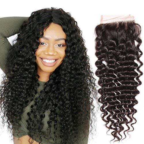 Amazon Com Nadula 8a Brazilian Deep Wave Closure Size 4 X4 Virgin Brazilian Human Hair Free Part Top Front Lace Closure 10inch Beauty