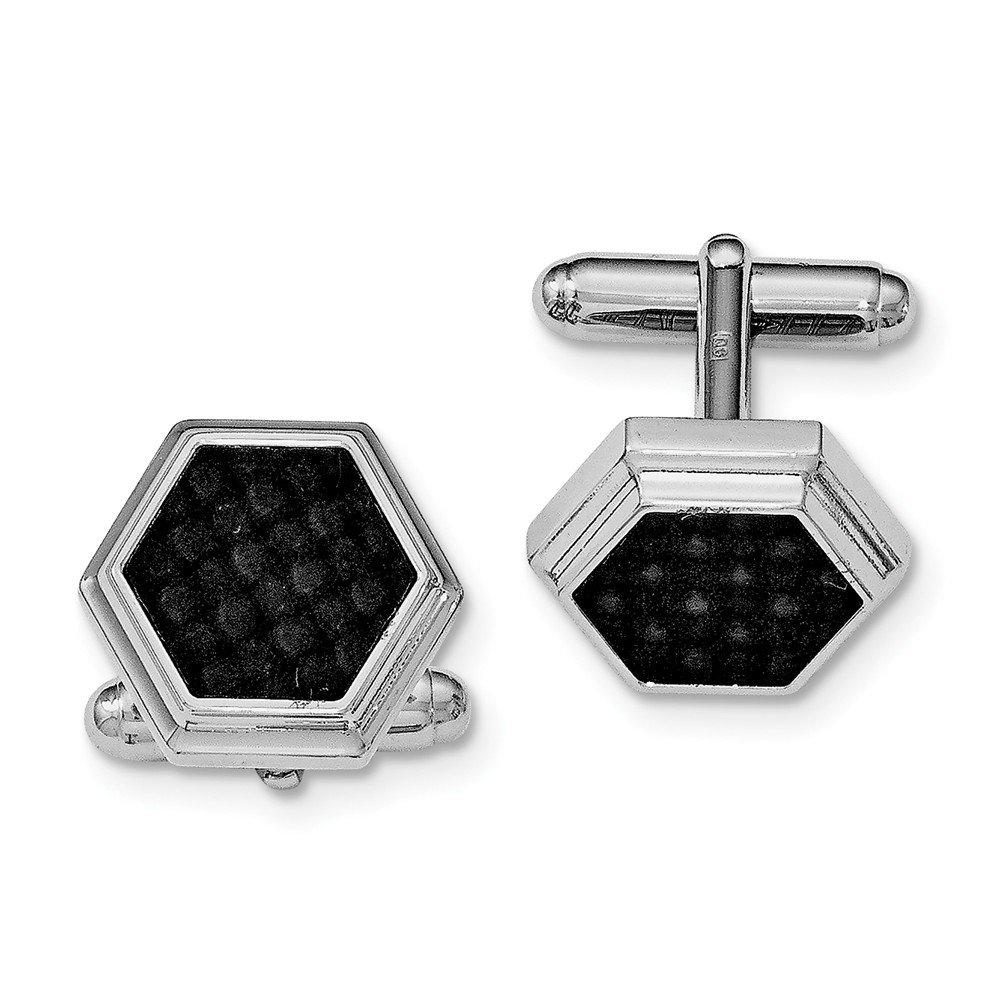 Sterling Silver Rhodium-plated Hexagon Black Carbon Fiber Cuff Links