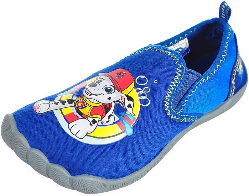 NEW Boys Water Shoes Large 9-10 Blue PAW PATROL Slip On Aqua Socks Sandals