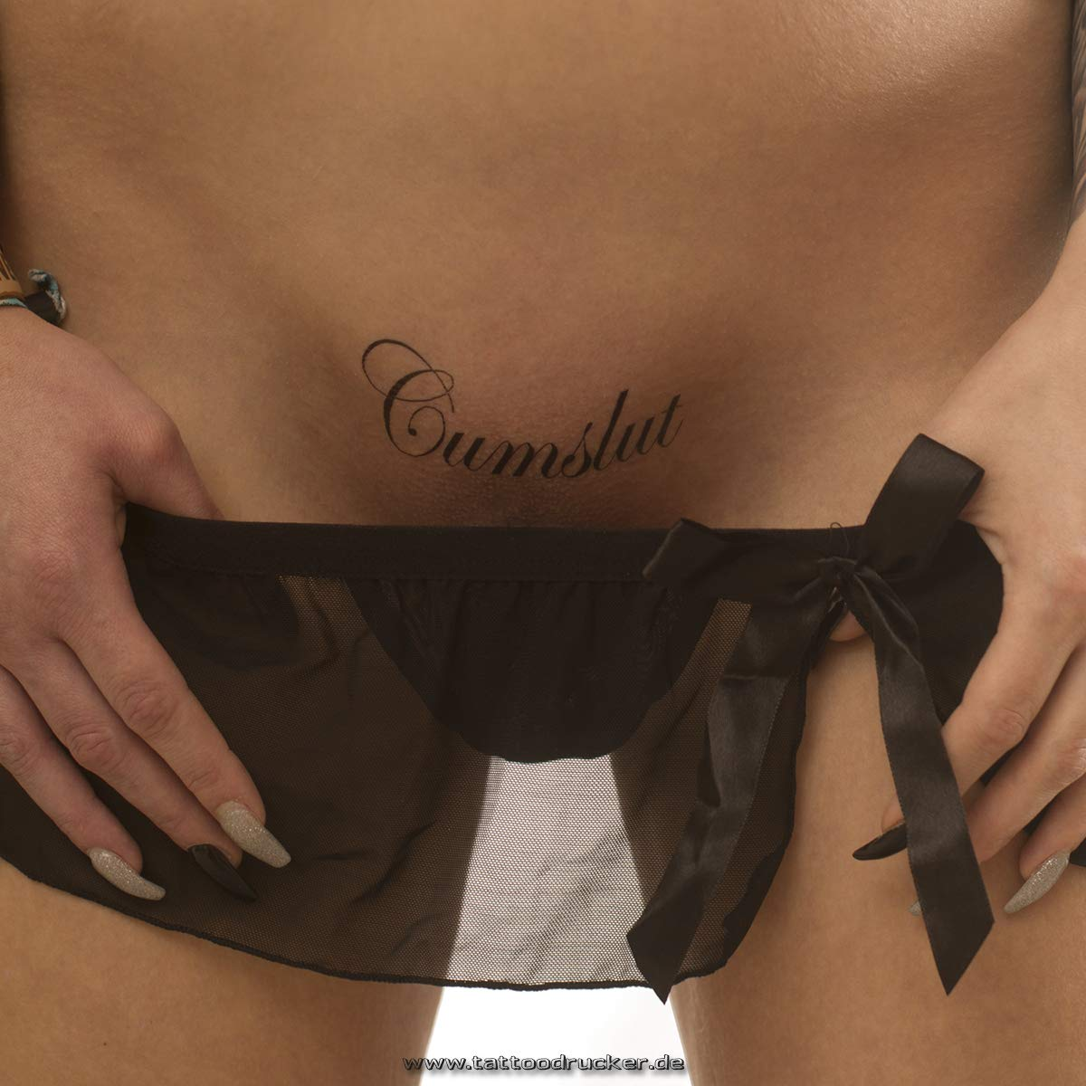 10 x Cumslut - Tattoo lettering in black - Temporary Fetish Fun Tattoo (5) TMP Cumslut-10