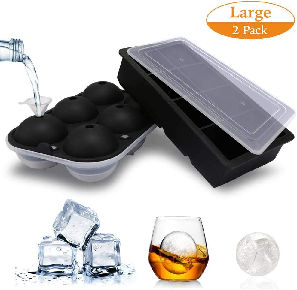 "TGJOR Ice Cube Trays, 2 Pack Easy Release 2.5"" Ice Sphere Mold Tray and Large 1.9"" Square Ice Cube with Lid, Reusable Ice Ball Maker for Whiskey, Cocktail or Homemade (Funnel Included)"