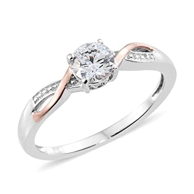 J FRANCIS Women Platinum Plated Sterling Silver Made with Swarovski® Zirconia Halo Ring Size N jg3OIqWE