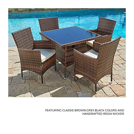 SUNCROWN Outdoor Furniture All-Weather Square Wicker Dining Table and Chairs (5-Piece Set) Washable Cushions, Patio, Backyard, Porch, Garden, Poolside, Tempered Glass Tabletop, Modern Design - COMPLETE DINING SET – Modern, stylized outdoor furniture, this wicker square dining table set comes with a tempered glass top table and four matching wicker chairs for relaxation. Cushion covers can be removed with a quick zip and are washable! ALL-WEATHER WICKER – Great for indoor and outdoor use, our wicker patio set is durable enough to withstand rain and wind for year-round use. BEAUTIFUL GLASS TABLETOP – The checkered wicker dining table also features a gorgeous black glass top that perfectly highlights your patio or poolside décor. - patio-furniture, dining-sets-patio-funiture, patio - 6169V43qzuL. SS570  -