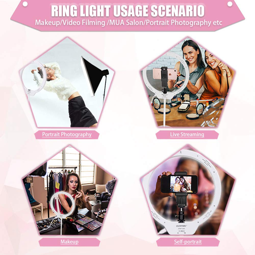 ZOMEi 10.5'' Tabletop Makeup Ring Light for YouTube Video Tutorial, Selfie, Portrait and Live Streaming White by ZoMei (Image #4)