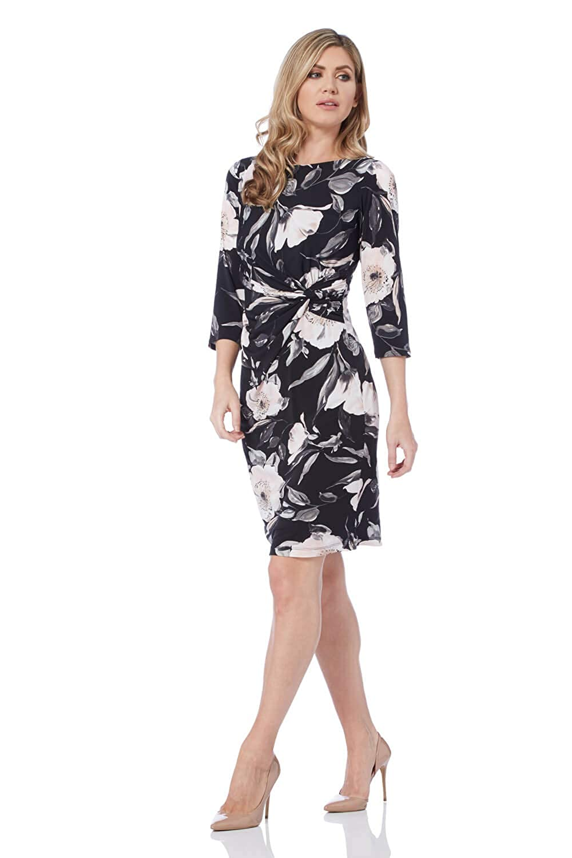 26e8ce2a8a08 Roman Originals Women Rose Print Ruched Waist Dress - Ladies 3 4 Sleeve  Knee Length Jersey Work Office Business Shift Clothing Bodycon Dresses  ...