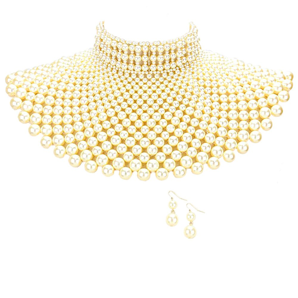 Sensibling Egyptian Pearl Armor Bib Choker Chain Style Statement Necklace and Pearl Earrings Set (Light Brown)