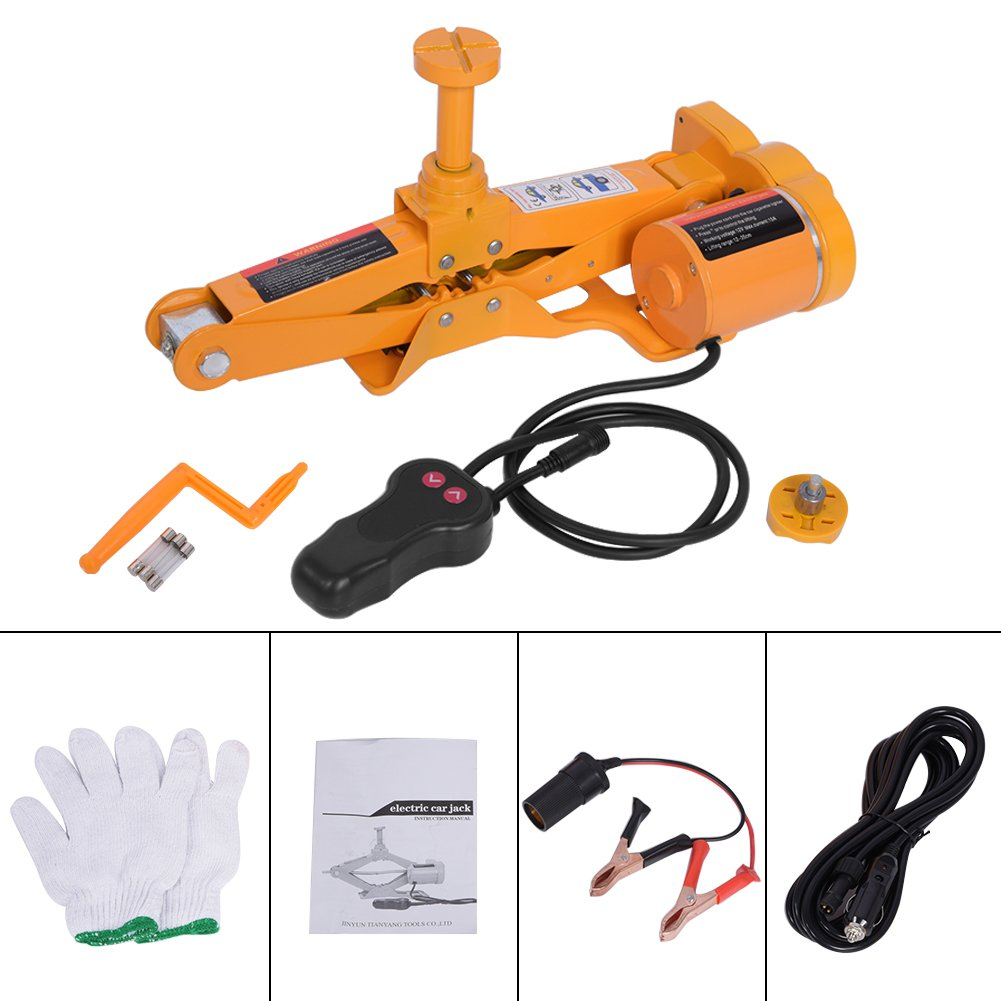 Automotive Car Electric Jack,3 Ton 12V DC Electric Scissor Car Jack Lifting Tire Wheel Repair Changing Kit SUV Van and Emergency Equipment by Estink (Image #2)