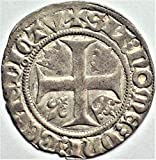 FR 1380-1422 AD France Medieval Europe Crusader Knights Templar Cross Antique French Silver Coin Blanc Very Good