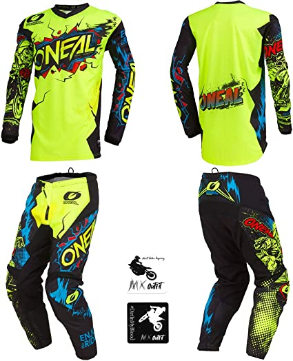 Pants W28 // Jersey Medium ONeal Element Racewear Black//Gray Adult motocross MX off-road dirt bike Jersey Pants combo riding gear set