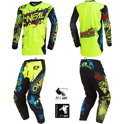 24 ONeal Element Ride Black//Yellow Neon Kids//Youth motocross MX off-road dirt bike Jersey Pants combo riding gear set // Jersey Kids Medium Pants 8//10