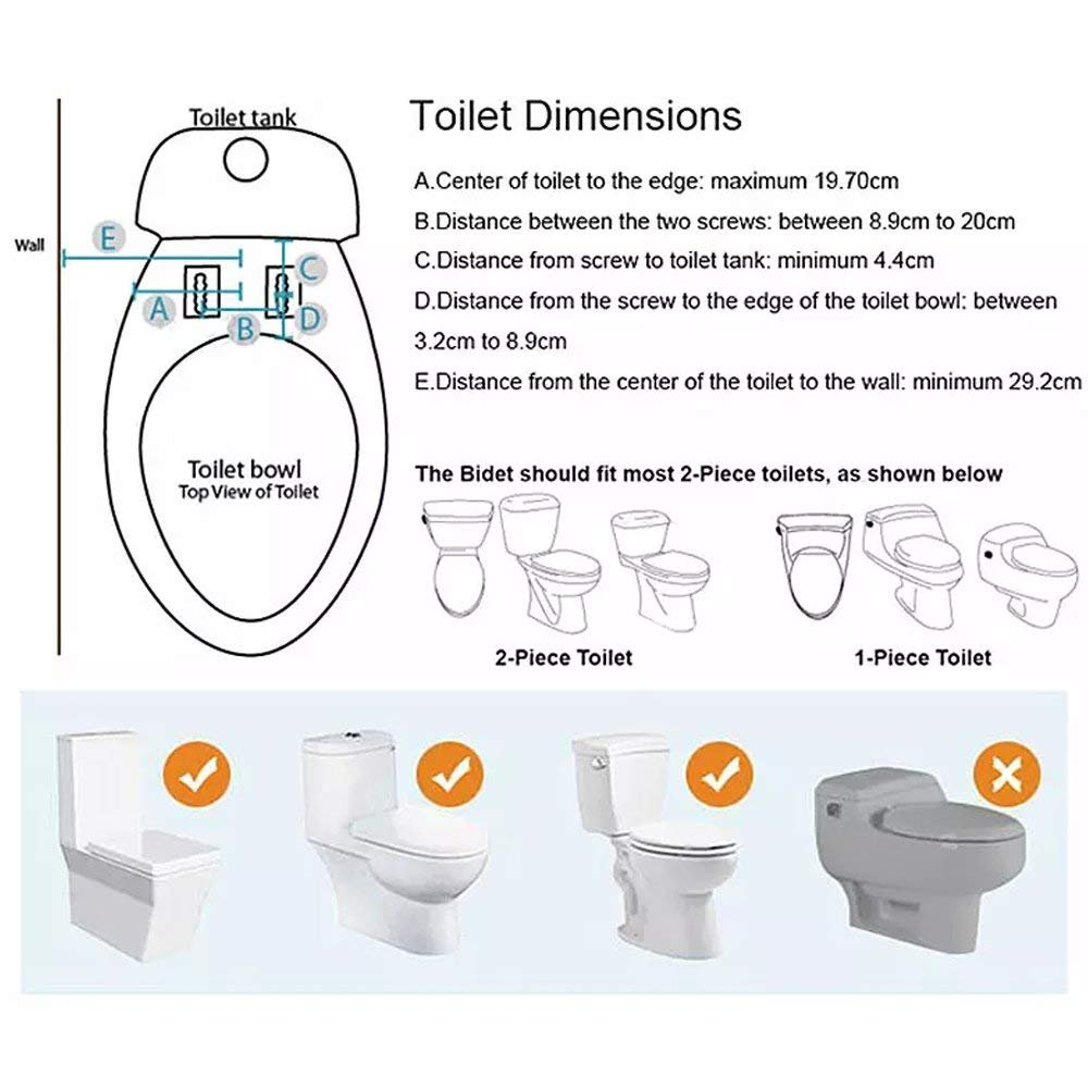 Yegu 8501 g3 8 bidet toilet seat attachment with self cleaning retractable nozzle hot and cold fresh water sprayer non electric for personal hygiene