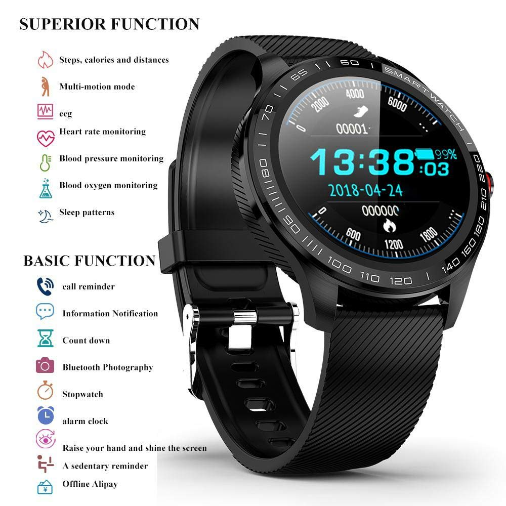 Amazon.com: L9 Smart Watch Men ECG+PPG Heart Rate Blood ...