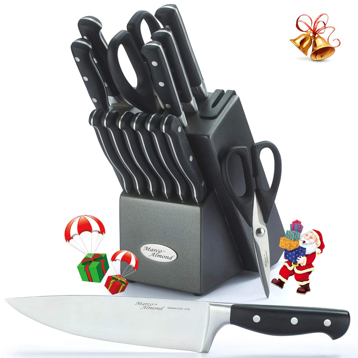 Marco Almond KYA33, Premium German Steel Knife, 15 Pieces Chief Cutlery Knives Set with Wooden Block, 2 pcs Kitchen Scissors, Built in Sharpener, Best Gift Black, Self by Marco Almond (Image #1)