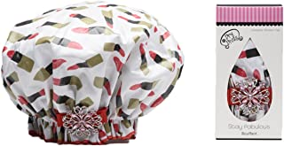 product image for Dry Divas Designer Shower Cap - Washable, Reusable - Large Bouffant With Vintage Jeweled Brooch (Pucker Up)