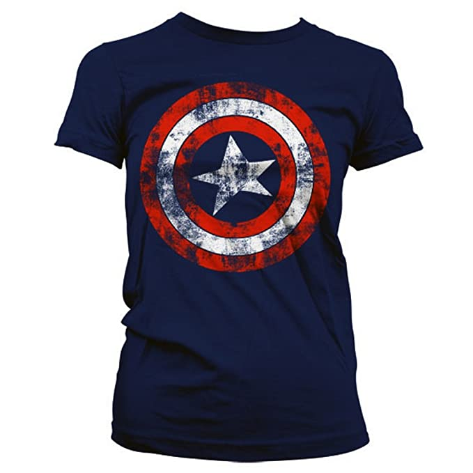 3652ac803 Official Women's Captain America Distressed Logo Navy Blue Slim Fitted  Ladies T-Shirt (Small