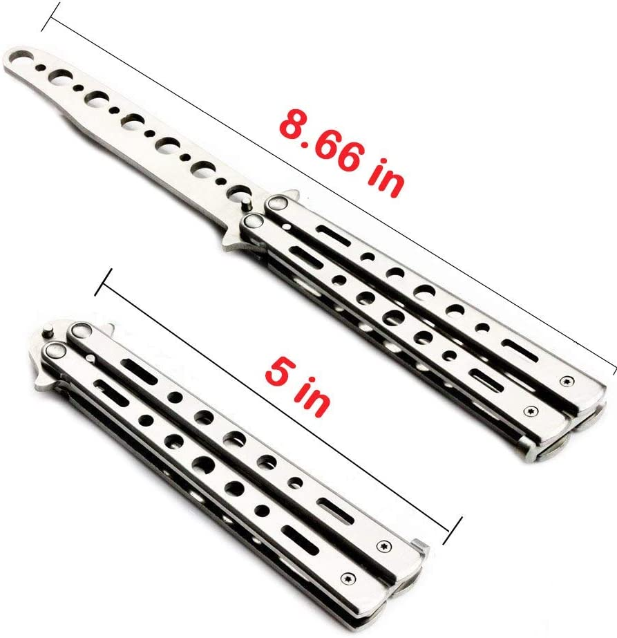Practice Butterfly Knife Balisong Trainer Stainless Steel Metal Folding Knife Training Comb Knife Unsharpened Blade for CS GO Training(Silver) : Sports & Outdoors