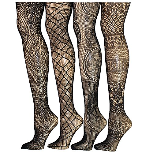 (4 Pack Sexy Fishnet Stoking Tights Hosiery For Women By Frenchic Extended Sizes (M/L, 4-F))