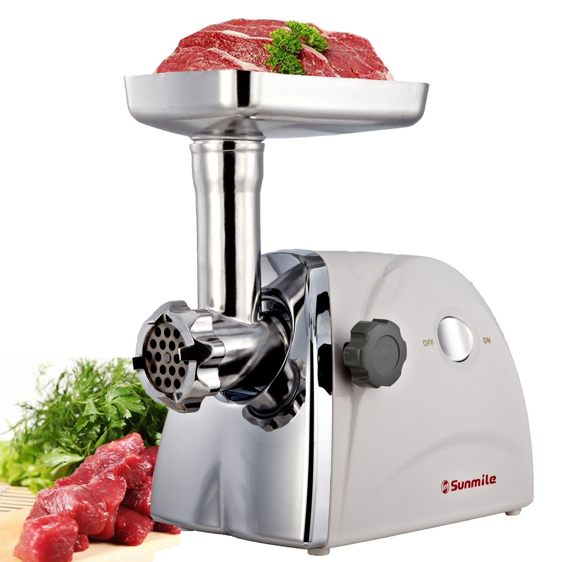 Sunmile SM-G31 Stainless Steel Electric Meat Grinder with Grinding Plates and Sausage Tubes 3pcs Stainless Steel Cutting Plates 3 Types Sausage Attachments