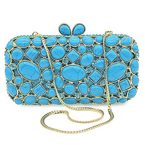 ETH Women's Diamond Rhinestone Banquet Party Evening Bags Chain Shoulder Bag Handbag Luxury Crystal Imitation Gem Wedding Dress Holiday Clutches Bags Durable (Color : Blue) (Mk Bags Imitation)