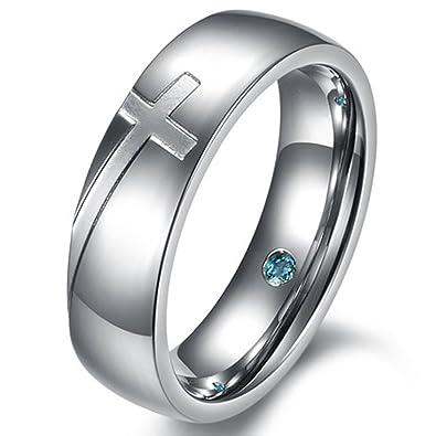 Mens Womens 6mm Stainless Steel Engrave Cross White Gold Ring