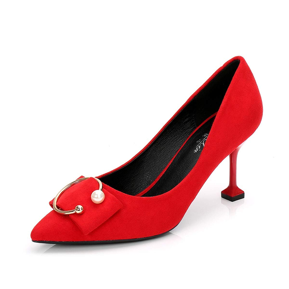 HBDLH Damenschuhe Rot 7Cm High Heels Heels Heels Frühjahr 100 Sätze Fein Hacken Quadratische Buttons Wildleder Cat - Heels Einzelne Schuhe  12d991
