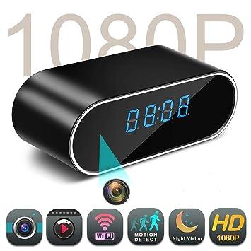 Balscw-J WiFi Oculto espía cámara Reloj 1080P HD Wireless Home Seguridad cámaras de vigilancia con visión Nocturna y Movimiento: Amazon.es: Electrónica