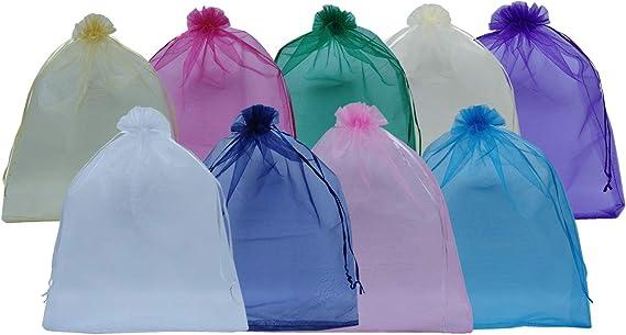 "Favor Bags Sheer 12 X 16/"" Extra Large Drawstring Bags Random Colors 50 Pack"