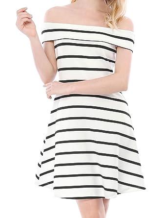 Allegra K Damen A Linie Rei/ßverschluss Off Shoulder Minikleid Kleid