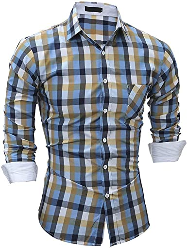 Crystallly Camisa Larga para Camisa Hombre con De Ocio Cuadros Camisa Estilo Simple Slim Fit Business Camisa De Cuello Alto En Color Sólido Camisa Transpirable Suave Y Confortable M 2XL: Amazon.es: Ropa