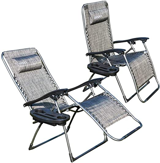 Ziigo Deckchair Foldable Set of 2 Relax Lounger Garden Lounger with Cup Holder and Removable Pillow Folding Chair Padded Folding Armchair up to 180 kg