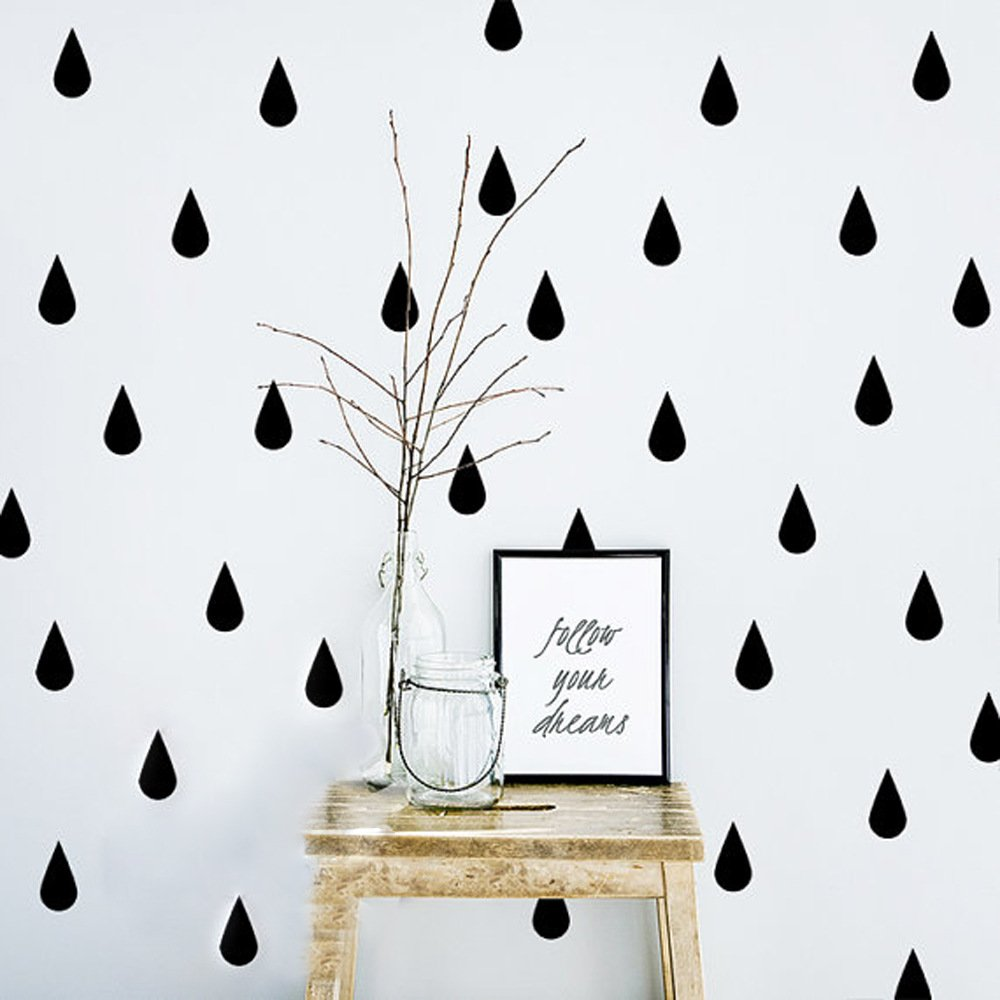 HACASO 60 PCS 2.3 by 1.5 Inches Waterdrop Wall Decal Sticker For Kids Bedroom Decor DIY Home Decor Vinyl Waterdrop Mural Baby Nursery Room Wallpaper Gold