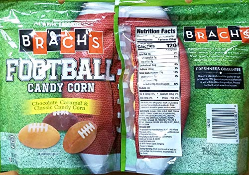 Football-Shaped Candy Corn - Chocolate, Caramel & Classic Candy Corn Flavors - Pack of 2 12 Oz Bags by Brach'sCandyCorn