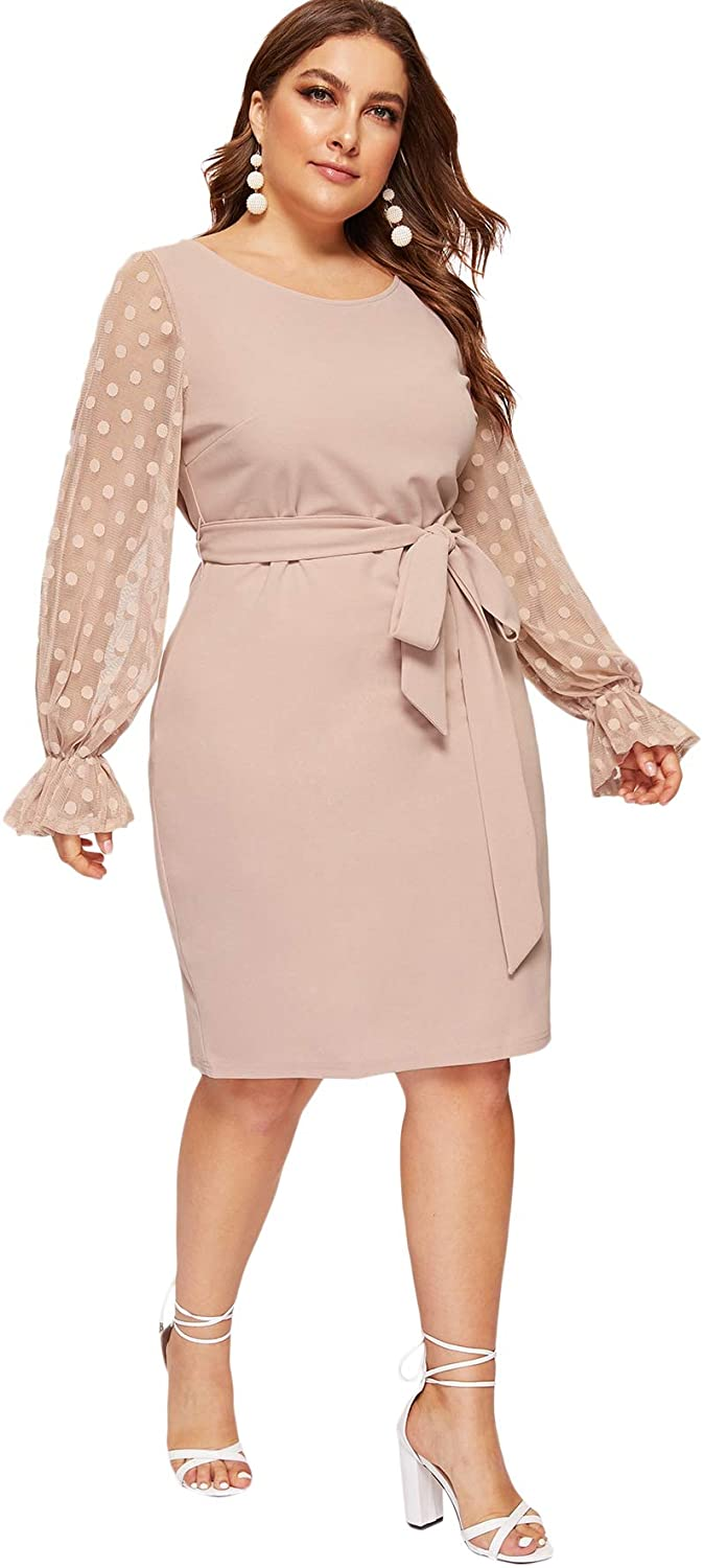 SheIn Women's Plus Size Elegant Mesh Contrast Pearl Beading Sleeve Stretchy Bodycon Pencil Dress