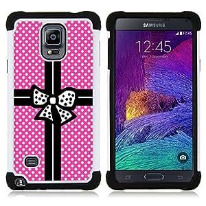 - gift pink polka dot package black bowtie - - Doble capa caja de la armadura Defender FOR Samsung Galaxy Note 4 SM-N910 N910 RetroCandy