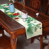 Peony Table Runner Top Grade Velvety - MeMoreCool Rectangle Design All Seasons No Fading 13 X 79 Inch 1PC