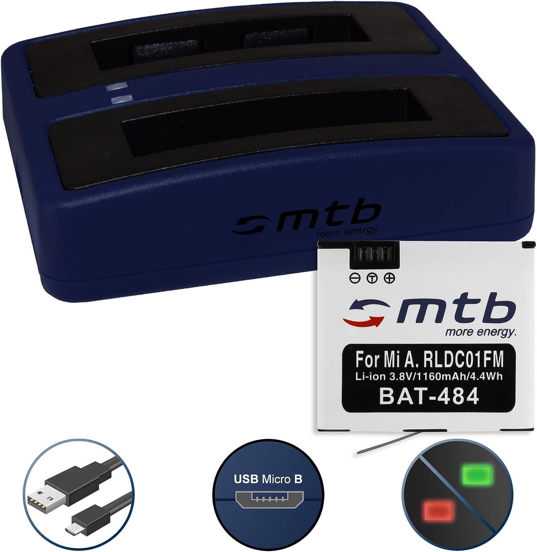 Batería + Cargador Doble (USB) para Xiaomi mijia Mini 4K Action CAM - reemplaza Xiaomi RLDC01FM [1160 mAh - 3.8V - Li-Ion] - Cable USB Micro Incluido