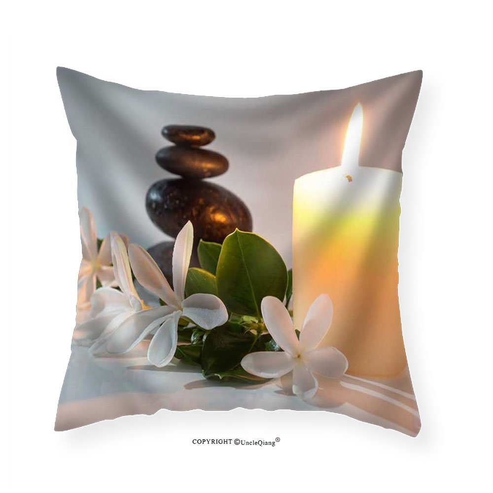 VROSELV Custom Cotton Linen Pillowcase Tiare Flowers Candle and Black Stone Spa - Fabric Home Decor 22''x22''