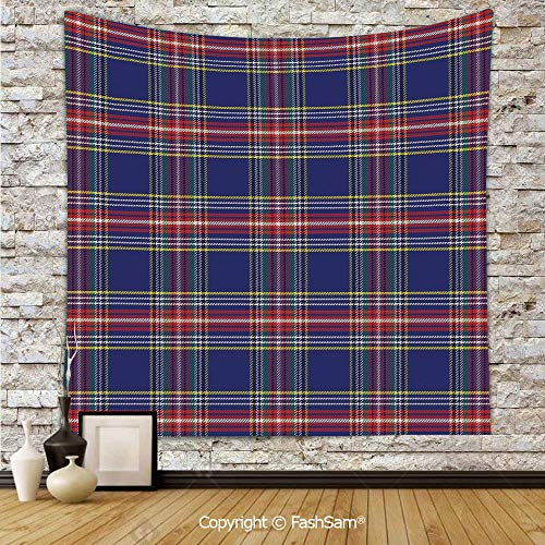 FashSam Tapestry Wall Hanging Ancestral Scottish Tartan Squares Lines Geometry Inspired Abstract Arrangement Tapestries Dorm Living Room Bedroom(W39xL59)