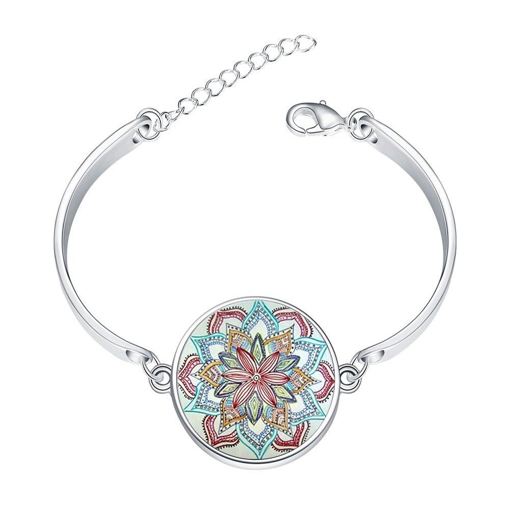 Adjustable Silver Bracelets Buddhism Mandala LotusHand Chain Link Bracelet Clear Bangle Custom Glass Cabochon Charm