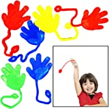 """Sticky Hands - 6 dozen - Bulk Pack of 72 Colorful Pary Favor Stretchable Hands - 1¼"""" Hands with 4"""" Sting - Stocking Suffers - Prizes - Fun Toy - Themed Holiday/Birthday Party Accessory."""