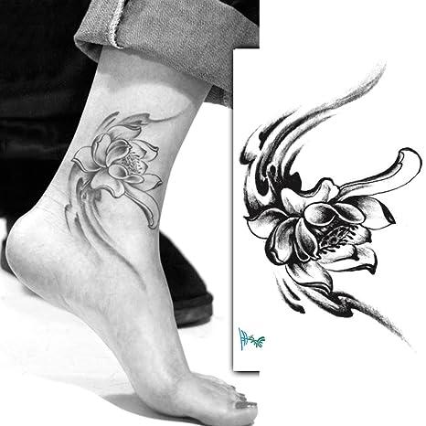 Yeeech Tatuajes Temporales Adulto Flor Negro Pequeño Loto para Mujer Tobillera Pata Tribal Sexy Brazo 70s